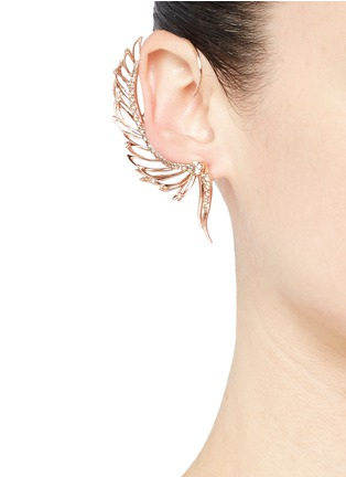 Figure View - Click To Enlarge - Cristinaortiz - Diamond 9k rose gold mismatched wing ear cuff
