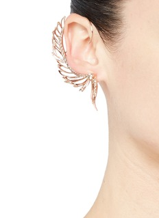 Cristinaortiz Diamond 9k rose gold mismatched wing ear cuff