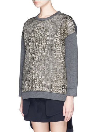 Front View - Click To Enlarge - Moncler - Metallic croc jacquard bonded jersey sweatshirt