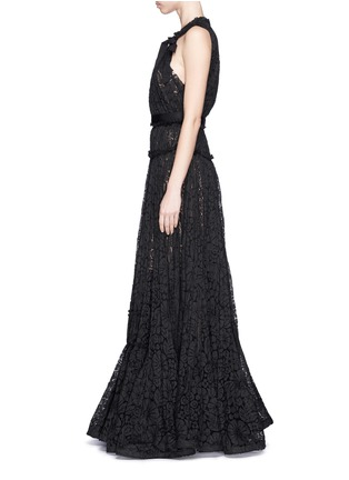 Detail View - Click To Enlarge - Lanvin - Bow appliqué tiered lace gown