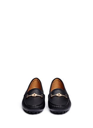 Front View - Click To Enlarge - Coach - 'Arlene' turnlock grainy leather loafers
