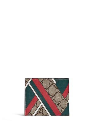 Back View - Click To Enlarge - GUCCI - Stripe chevron print canvas bifold wallet