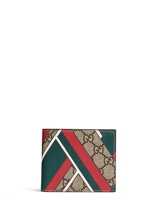 Main View - Click To Enlarge - Gucci - Stripe chevron print canvas bifold wallet