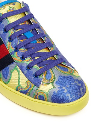 Detail View - Click To Enlarge - Gucci - Floral jacquard stripe sneakers