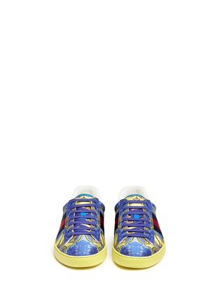 Front View - Click To Enlarge - Gucci - Floral jacquard stripe sneakers