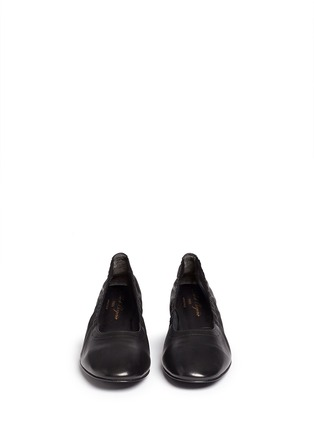 Front View - Click To Enlarge - Robert Clergerie - 'Poket' wood effect heel lambskin leather pumps