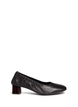 Main View - Click To Enlarge - Robert Clergerie - 'Poket' wood effect heel lambskin leather pumps