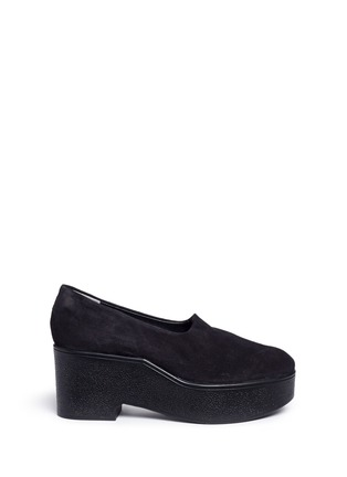 Main View - Click To Enlarge - Robert Clergerie - 'Xalo' stretch suede wedge platform slip-ons