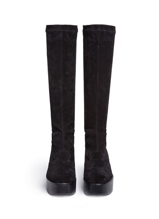 Front View - Click To Enlarge - Robert Clergerie - 'Xotte' stretch suede knee high platform boots