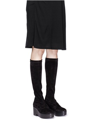 Figure View - Click To Enlarge - Robert Clergerie - 'Xotte' stretch suede knee high platform boots