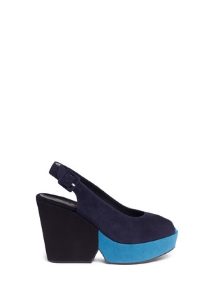 Main View - Click To Enlarge - Robert Clergerie - 'Dylanl' slingback suede platform wedge sandals