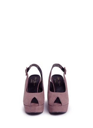 Front View - Click To Enlarge - Robert Clergerie - 'Dylanl' slingback suede platform wedge sandals