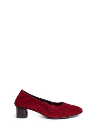 Main View - Click To Enlarge - CLERGERIE - 'Poket' wood effect heel suede pumps
