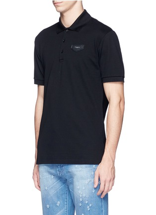 Front View - Click To Enlarge - Givenchy - Leather logo patch polo shirt