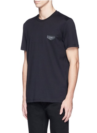 Front View - Click To Enlarge - Givenchy - Logo leather patch T-shirt