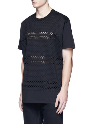 Front View - Click To Enlarge - Givenchy - Cross perforated T-shirt