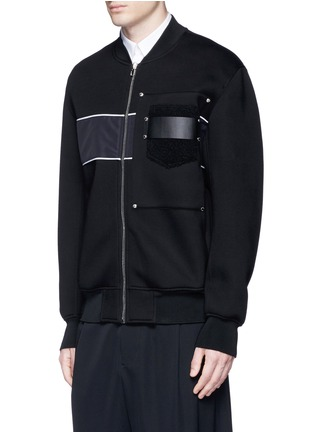 Front View - Click To Enlarge - Givenchy - Mixed media bomber jacket