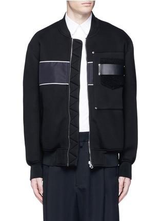 Main View - Click To Enlarge - Givenchy - Mixed media bomber jacket