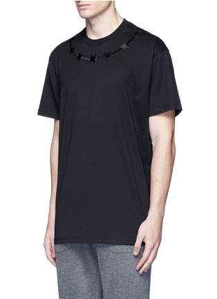 Front View - Click To Enlarge - Givenchy - Barb wire embroidery T-shirt