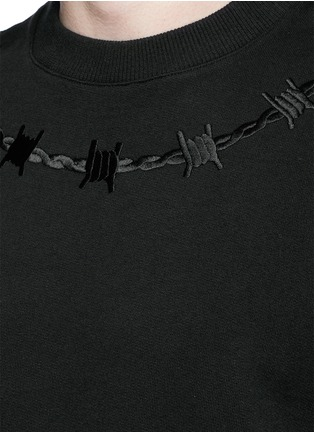 Detail View - Click To Enlarge - Givenchy - Barb wire embroidery sweatshirt