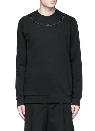 Main View - Click To Enlarge - Givenchy - Barb wire embroidery sweatshirt