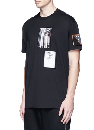 Front View - Click To Enlarge - Givenchy - American flag print patch T-shirt