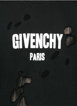 Detail View - Click To Enlarge - Givenchy - Logo print distressed sweatshirt