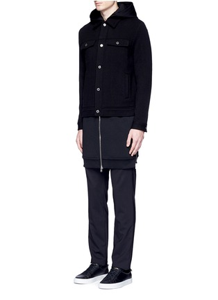 Front View - Click To Enlarge - GIVENCHY - Double layer wool hood parka