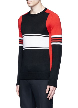 Front View - Click To Enlarge - Givenchy - Colourblock stripe Merino wool sweater