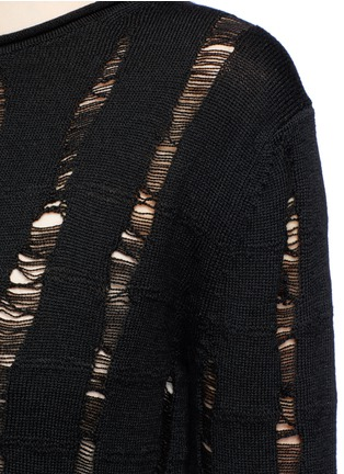 Detail View - Click To Enlarge - T By Alexander Wang - Distressed dropped stitch Merino wool sweater