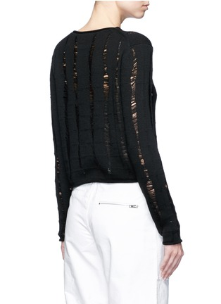 Back View - Click To Enlarge - T By Alexander Wang - Distressed dropped stitch Merino wool sweater
