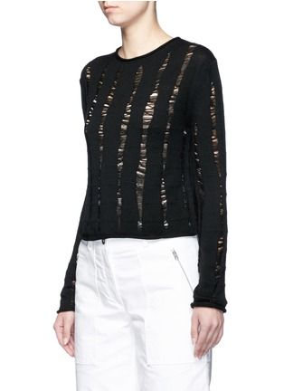 Front View - Click To Enlarge - T By Alexander Wang - Distressed dropped stitch Merino wool sweater