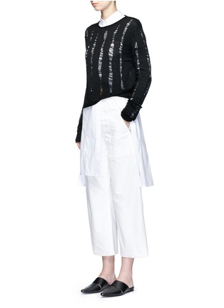 Figure View - Click To Enlarge - T By Alexander Wang - Distressed dropped stitch Merino wool sweater