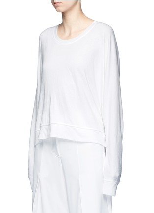 Front View - Click To Enlarge - T By Alexander Wang - Dolman sleeve enzyme wash French terry sweatshirt