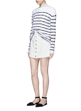 Figure View - Click To Enlarge - ALEXANDERWANG.T - Cotton twill button jean skirt