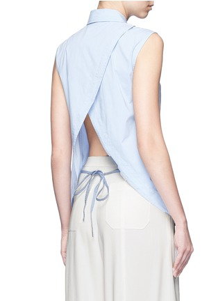 Back View - Click To Enlarge - T By Alexander Wang - Surplice back poplin sleeveless shirt