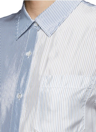 Detail View - Click To Enlarge - T By Alexander Wang - Mix stripe washed viscose cropped shirt