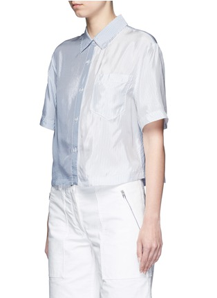 Front View - Click To Enlarge - T By Alexander Wang - Mix stripe washed viscose cropped shirt