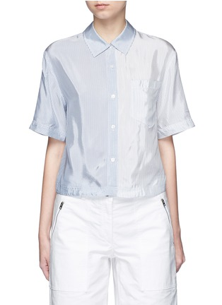 Main View - Click To Enlarge - T By Alexander Wang - Mix stripe washed viscose cropped shirt