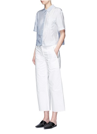 Figure View - Click To Enlarge - T By Alexander Wang - Mix stripe washed viscose cropped shirt
