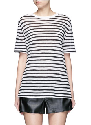 Main View - Click To Enlarge - ALEXANDERWANG.T - Stripe linen blend T-shirt