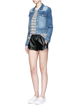 Figure View - Click To Enlarge - alexanderwang.t - Stripe linen blend T-shirt