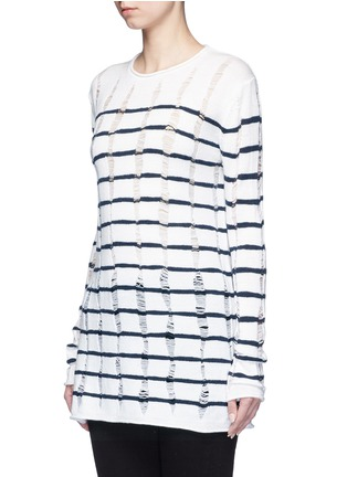 Front View - Click To Enlarge - T By Alexander Wang - Distressed dropped stitch stripe Merino wool sweater