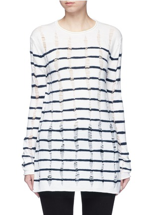 Main View - Click To Enlarge - T By Alexander Wang - Distressed dropped stitch stripe Merino wool sweater
