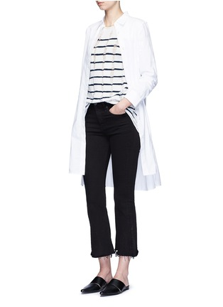 Figure View - Click To Enlarge - T By Alexander Wang - Distressed dropped stitch stripe Merino wool sweater