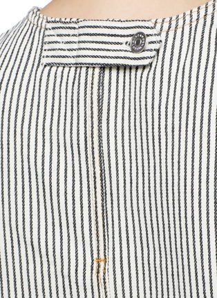 Detail View - Click To Enlarge - T By Alexander Wang - Frayed stripe denim tank top