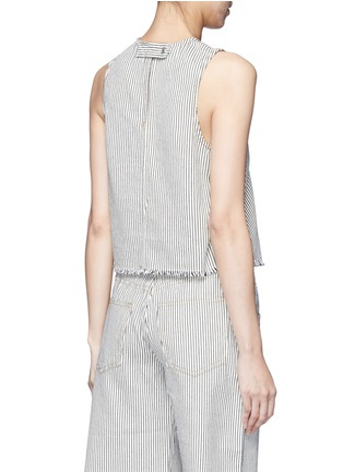 Back View - Click To Enlarge - T By Alexander Wang - Frayed stripe denim tank top