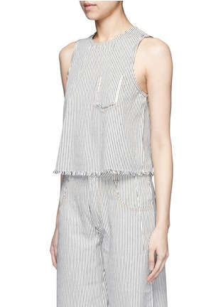 Front View - Click To Enlarge - T By Alexander Wang - Frayed stripe denim tank top