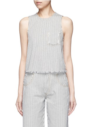 Main View - Click To Enlarge - T By Alexander Wang - Frayed stripe denim tank top