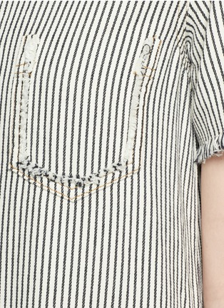 Detail View - Click To Enlarge - T By Alexander Wang - V-neck frayed stripe denim dress